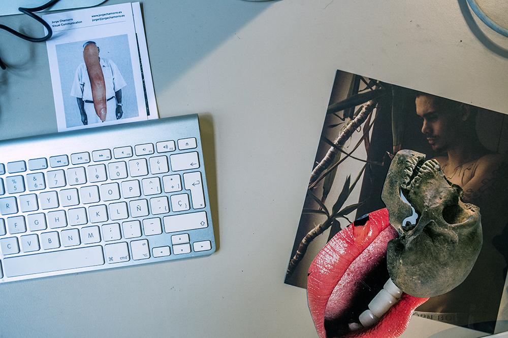 Book cutouts next to a mac keyboard