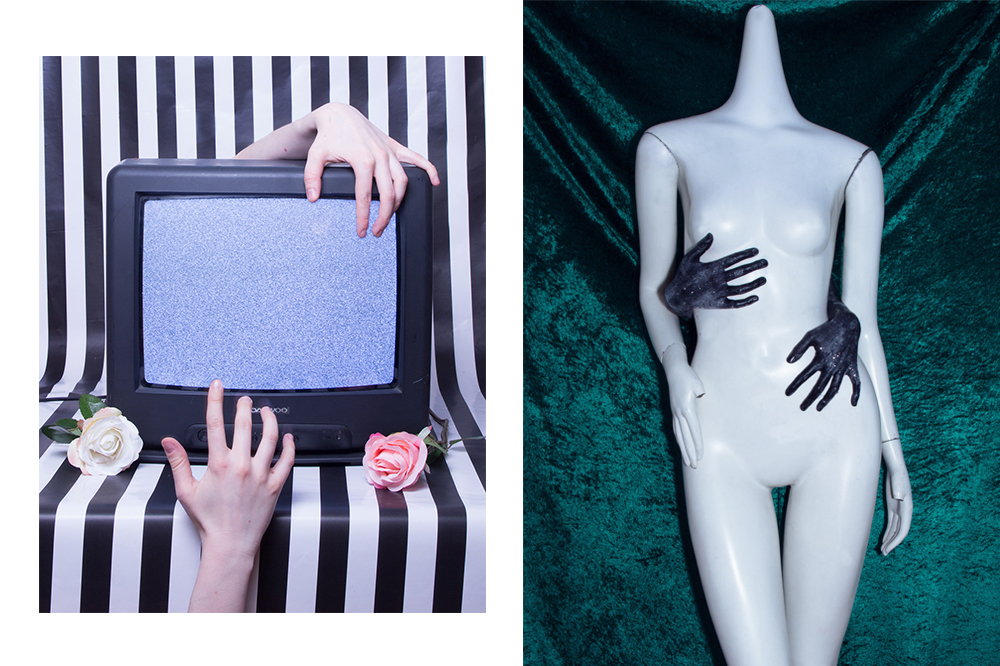 Diptych: To the left a tv with hands on them, to the right hands around a mannequin