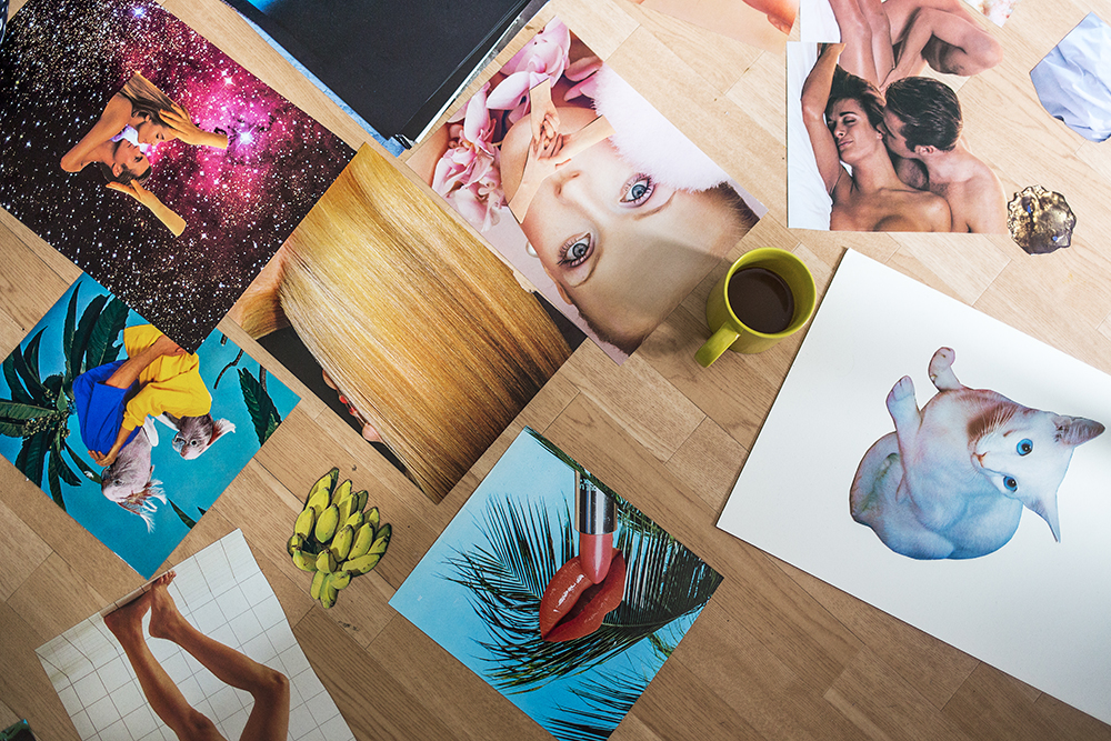 A selection of collages on the floor