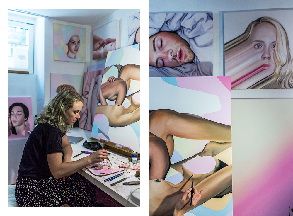 Diptych: To the left Megan Archer painting. To the right: Four pantings