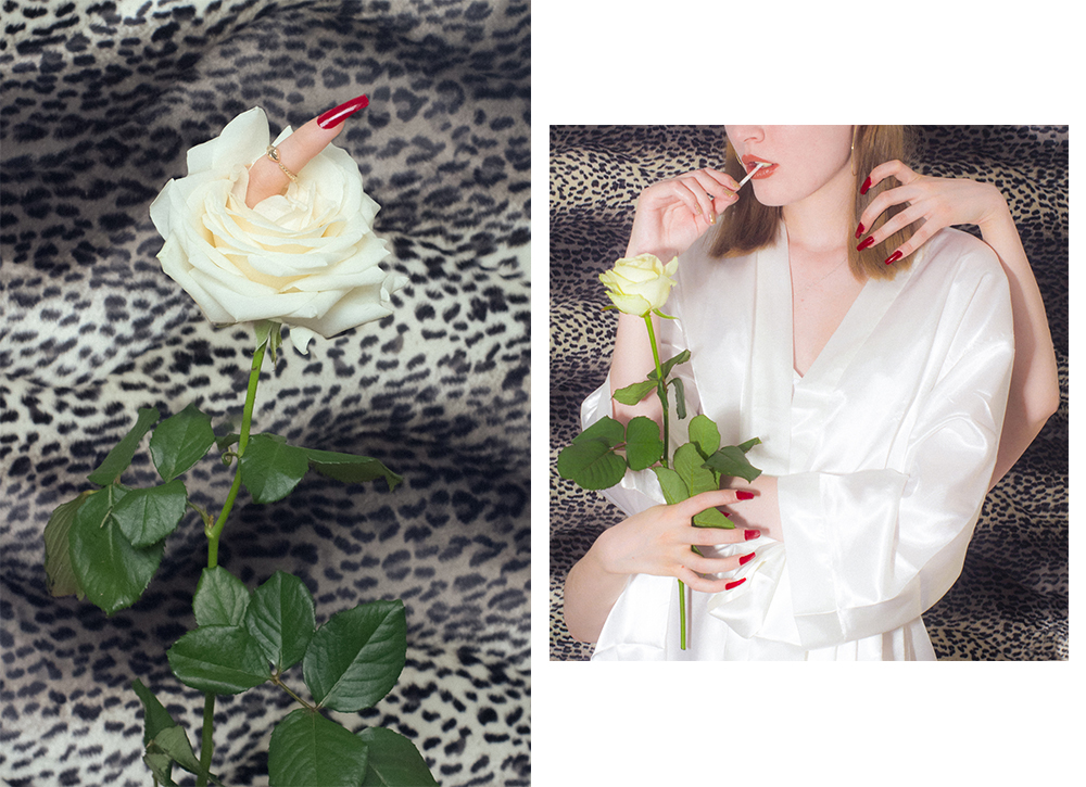 Still life diptych of one rose with a finger inside and the other one of women surrounded by hands
